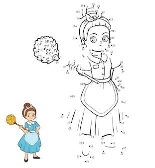 Gra liczbowa, edukacyjna gra kropka-kropka dla dzieci, pokojówka