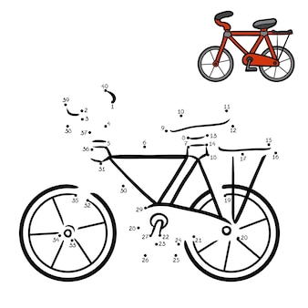 Gra liczbowa, edukacyjna gra kropka-kropka dla dzieci, rower