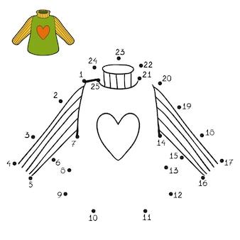 Gra liczbowa, edukacyjna gra kropka-kropka dla dzieci, sweter z sercem