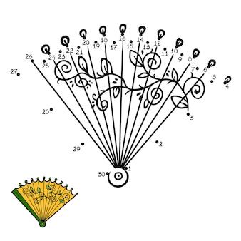 Gra liczbowa, edukacyjna gra kropka-kropka dla dzieci, wentylator