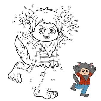 Gra liczbowa, edukacyjna gra kropka-kropka dla dzieci, wilkołak