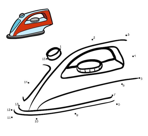 Gra liczbowa, edukacyjna gra kropka-kropka dla dzieci, żelazko