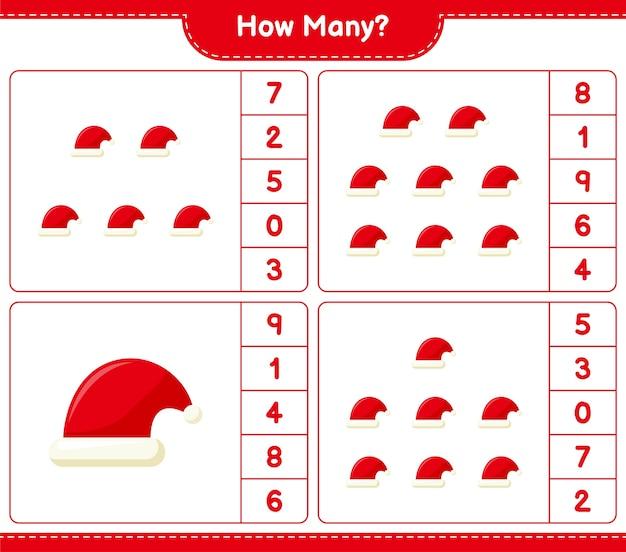 Gra liczenia, ile czapek świętego mikołaja. gra edukacyjna dla dzieci, arkusz do druku,
