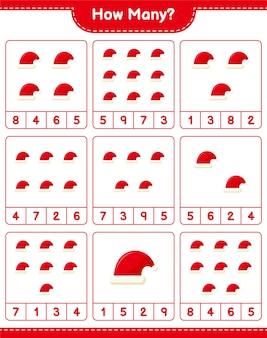 Gra liczenia, ile czapek świętego mikołaja. gra edukacyjna dla dzieci, arkusz do druku