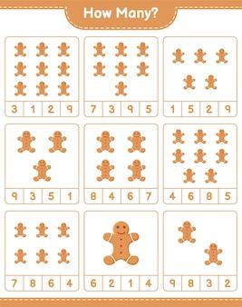 Gra liczenia, ile pierników. gra edukacyjna dla dzieci, arkusz do druku
