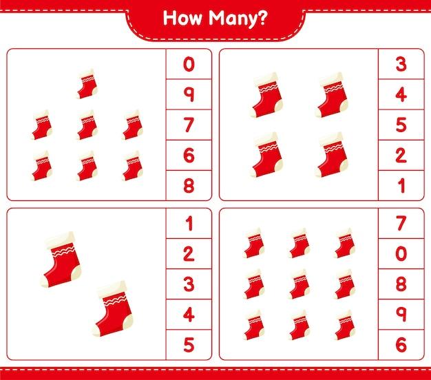 Gra liczenia, ile skarpet świątecznych. gra edukacyjna dla dzieci, arkusz do druku,