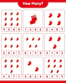 Gra liczenia, ile skarpet świątecznych. gra edukacyjna dla dzieci, arkusz do druku