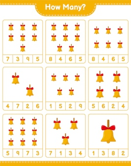 Gra liczenia, ile złotych dzwonków bożonarodzeniowych. gra edukacyjna dla dzieci, arkusz do druku