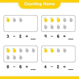 Gra liczenia, policz ilość lemon i zapisz wynik. gra edukacyjna dla dzieci, arkusz do druku