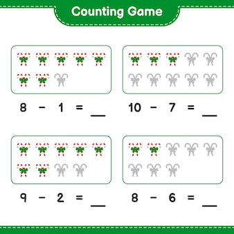 Gra liczenia, policz liczbę cukierków ze wstążką i zapisz wynik