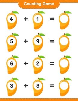 Gra liczenia, policz liczbę mango i zapisz wynik. gra edukacyjna dla dzieci, arkusz do druku