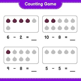 Gra liczenia, policz liczbę rysunków i zapisz wynik. gra edukacyjna dla dzieci, arkusz do druku