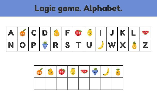 Gra logiczna. alfabet. jakich liter brakuje. arkusz dla dzieci.