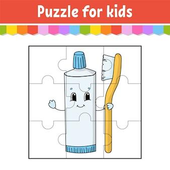 Gra logiczna dla dzieci. kawałki układanki. arkusz kolorów. strona aktywności