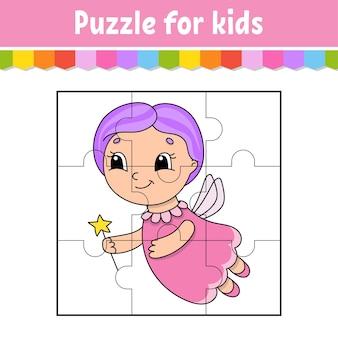 Gra logiczna dla dzieci. kawałki układanki. arkusz kolorów.