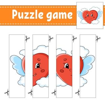Gra logiczna dla dzieci. praktyka cięcia. arkusz rozwijający edukację. walentynki.