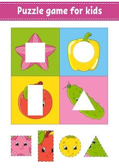 Gra logiczna dla dzieci. praktyka cięcia. owoce i warzywa.