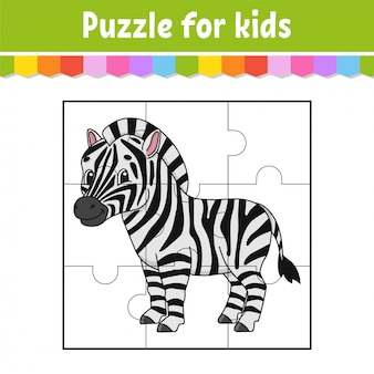Gra logiczna dla dzieci. słodka zebra. arkusz edukacyjny. kolorowa strona aktywności.
