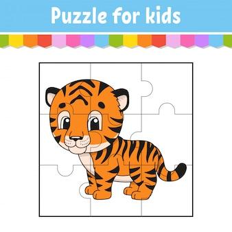 Gra logiczna dla dzieci. tygrys pomarańczowy arkusz edukacyjny. kolorowa strona aktywności.
