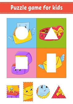 Gra logiczna dla dzieci. wytnij i wklej. praktyka cięcia. nauka kształtów. arkusz edukacyjny.