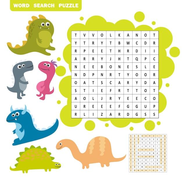 Gra logiczna do nauki języka angielskiego. znajdź ukryte słowa dinozaurów za pomocą pionowych lub poziomych linii