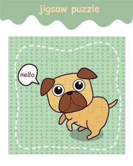 Gra logiczna z kreskówkowym psem mopsa