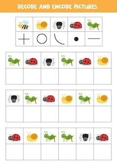 Gra logiczna z uroczymi owadami z kreskówek