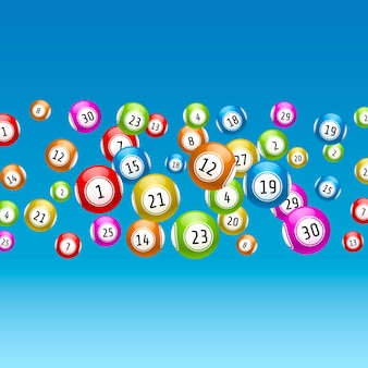 Gra loteryjna, kulki z numerami, na kolorowym tle. ilustracja wektorowa