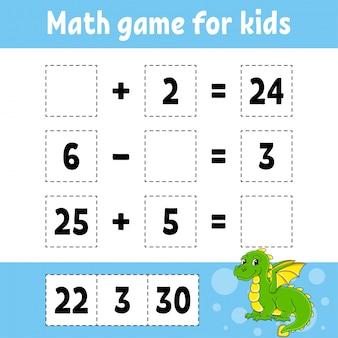 Gra matematyczna dla dzieci. arkusz rozwijający edukację. strona aktywności ze zdjęciami.