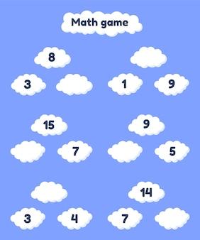 Gra matematyczna na dodatek dla dzieci w wieku przedszkolnym i szkolnym. uzupełnij brakujące liczby. chmury.