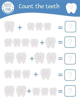 Gra matematyczna z zębami. opieka stomatologiczna zajęcia matematyczne dla dzieci w wieku przedszkolnym. arkusz liczenia do druku. edukacyjna zagadka z dodatkiem zabawnych elementów. quiz o higienie jamy ustnej dla dzieci