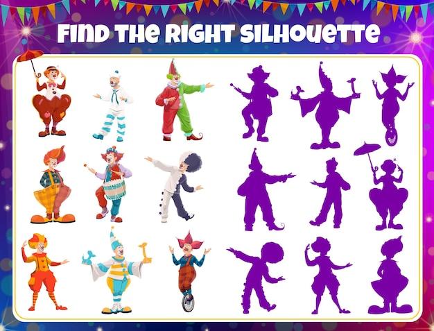 Gra mecz cień, sylwetki klaunów cyrkowych, gra planszowa puzzle dla dzieci, tło wektor. znajdź prawidłowy cień klauna, aktywność mózgu dzieci i rozrywkę rozrywkową na stole