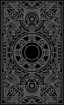 Gra mistyczna karta z geometrycznymi kształtami linii.