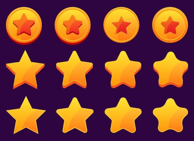 Gra mobilna złote gwiazdki projekt ilustracja na białym tle na tle