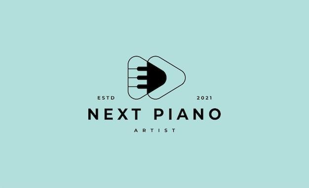 Gra na fortepianie do przodu logo ilustracja wektorowa projektu