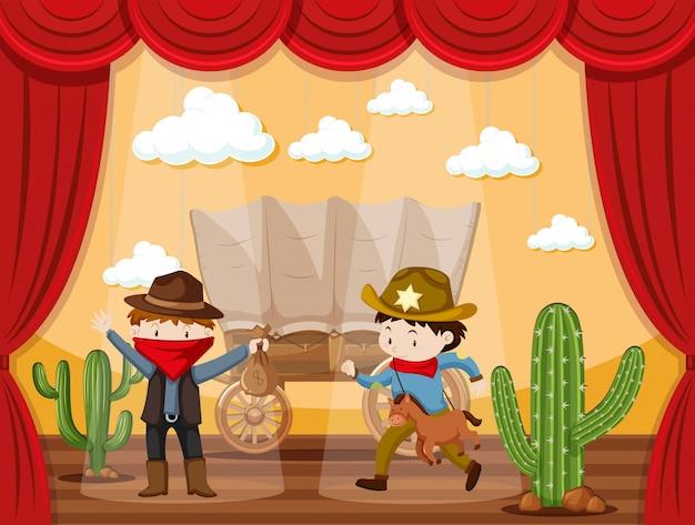 Gra na scenie z dwoma kowbojami