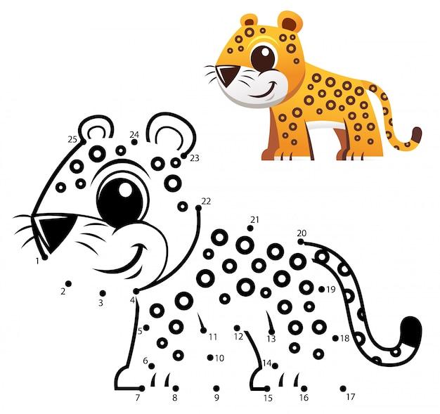 Gra numery edukacyjne. gra kropka-kropka. kreskówka jaguar