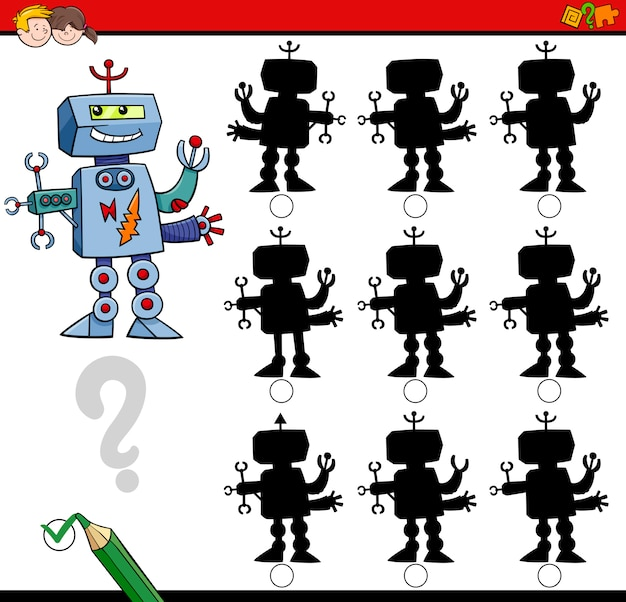 Gra o różnicach w cieniach z robotem