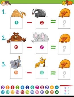 Gra odejmowania matematyki ze zwierzętami