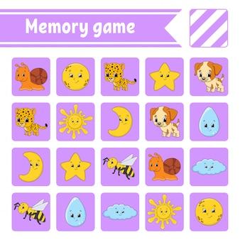 Gra pamięciowa dla dzieci. arkusz rozwijający edukację. strona aktywności ze zdjęciami.