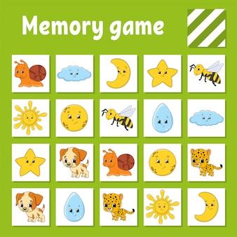 Gra pamięciowa dla dzieci. arkusz rozwijający edukację.