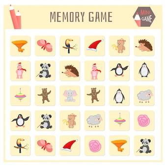 Gra pamięciowa dla dzieci, grafika wektorowa map zwierząt