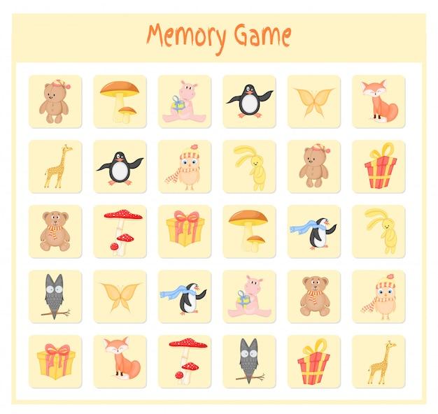 Gra pamięciowa dla dzieci, grafika wektorowa ze zwierzętami