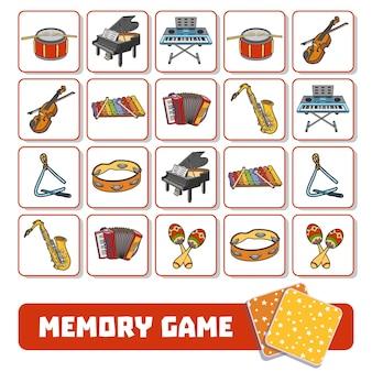 Gra pamięciowa dla dzieci w wieku przedszkolnym, karty wektorowe z instrumentami muzycznymi