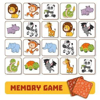 Gra pamięciowa dla dzieci w wieku przedszkolnym, karty wektorowe ze zwierzętami w ogrodach zoologicznych