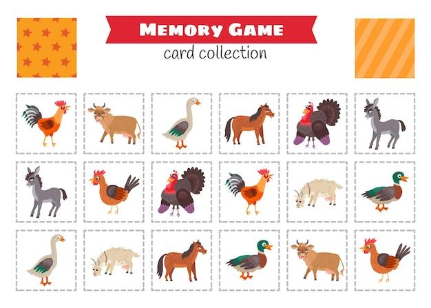 Gra pamięciowa ze zwierzętami gospodarskimi z kreskówek. wektor