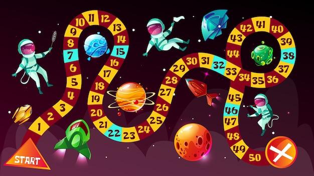 Gra planszowa. astronauci w astronautycznym gra planszowa strategii dzieciaka kreskówki szablon