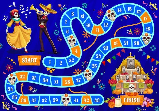 Gra planszowa dla dzieci. święto dia de los muertos świętujące ludzkie szkielety, tańczącą kobietę i muzyk mariachi w sombrero, upamiętniające zmarłych ludzi z ołtarza