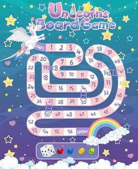 Gra planszowa dla dzieci w szablonie stylu jednorożca w pastelowych kolorach