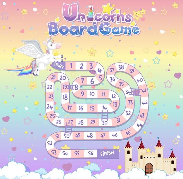 Gra planszowa dla dzieci w szablonie stylu pastelowych jednorożców
